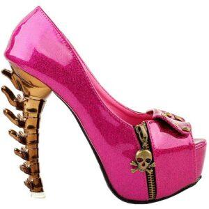 Pink Skull Court Shoe