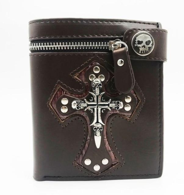 Brown leather cross wallet