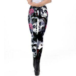 santa muerte leggings worn