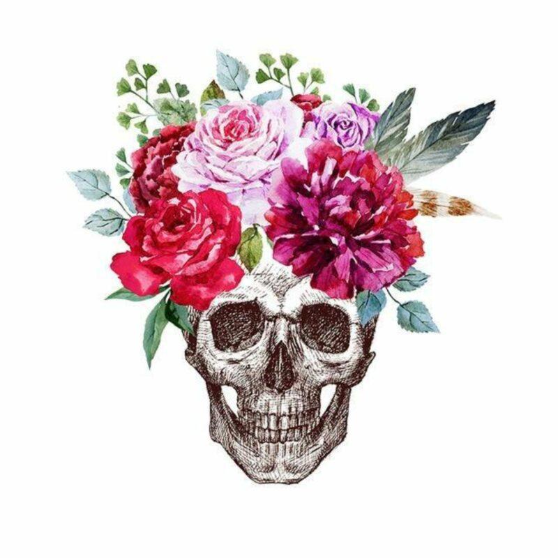 Flowery Skull Transfer