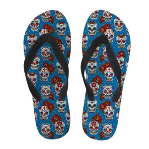 Colorful Mexican Skull Flip Flop