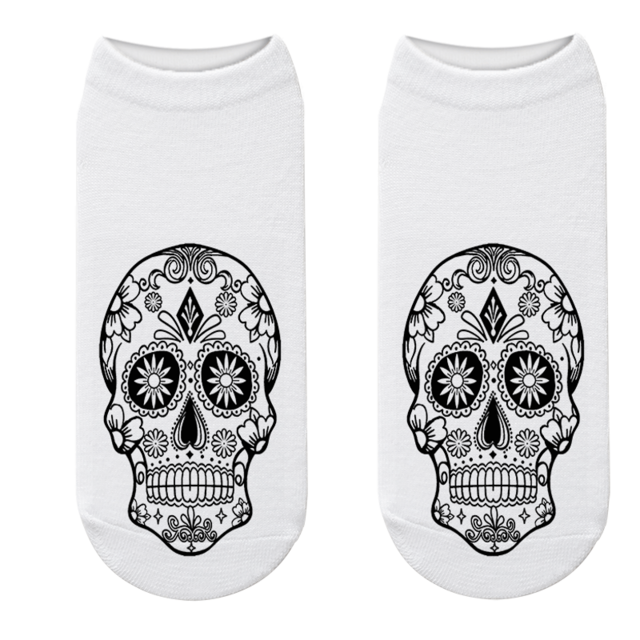 Black and White Mexican Skull Sock