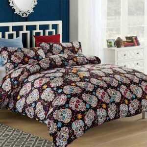 Photo bedroom with skull comforter cover.