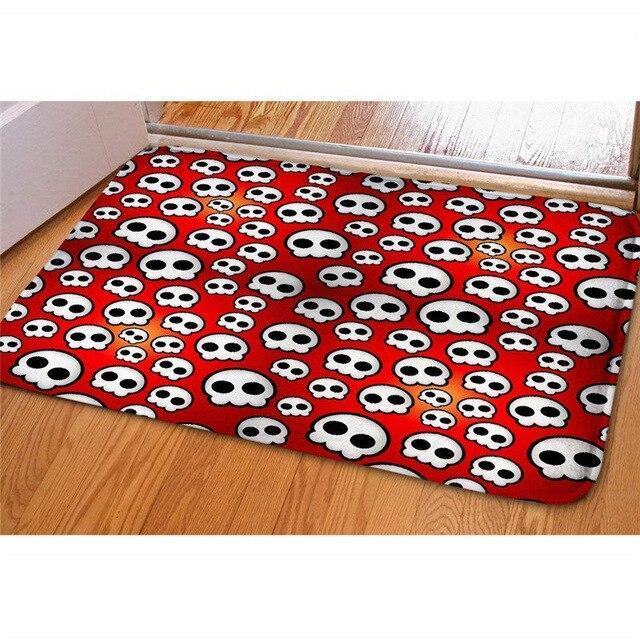 carpet. white skulls on red.