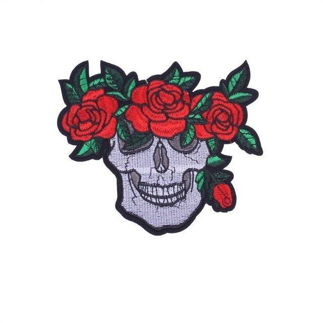 Skull Patch With Flower