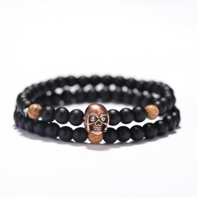 Skull and Crossbones Bead Bracelet