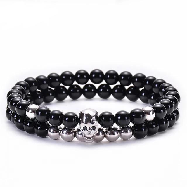 Men's Skull Bead Bracelet