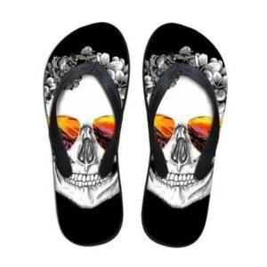 White Skull Flip Flop